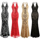 Angel-fashions Women's Halter Pattern Sequin V Neck Sheath Evening Dress 381