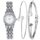 1-Fashion Womens Chic Diamante Gloss Waistwatch 3PCs/Set Bracelet Dress Watch