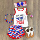 USA Fourth of July Kids Girl Boy Summer T-shirt Top Vest+Pants Shorts Outfit Set