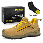 Safetoe Safety Shoes Mens Work Steel Toe Yellow Leather Breathable Summer L 7296