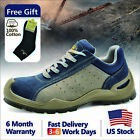 Safetoe Safety Work Shoes Mens Boots Blue Breathable Leather Steel Toe US L 7295