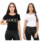 Ladies Womens Vogue Italia T-Shirt Top Gold Foil Printed Short Sleeve Designer