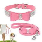 Small Suede Leather Cat Dog Collar and Leash Sparkling Crystal Diamond & Bowknot