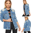 Womens Ripped Distressed Long Sleeve Baggy Oversized Denim Jacket Ladies Coat