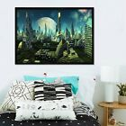 3d Moon City 56 Fake Framed Poster Home Decor Print Painting Unique Art Summer