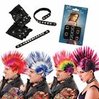 Punk Raver Goth Mohican Studded 5 Item 70s 80s Fancy Dress Costume Accessory Set