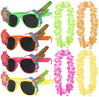 TROPICAL HAWAIIAN GLASSES AND FLOWER LEI SUMMER FANCY DRESS FLORAL ACCESSORY SET