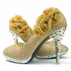 Glitter Floral Evening Women Shoes Wedding Party Bridal High Heels Casual Pumps