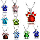 Birth Stone Dog Paw Charm Silver Plated Crystal Pendant Chain Necklace Jewelry