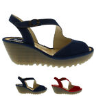 Womens Fly London Yamp Summer Peep Toe Cut Out Wedge Heel Buckle Sandals UK 3-9