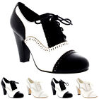 Womens Mid Block Heel Lace Up Evening Work Mary Jane Ankle Boot Shoes UK 3-9