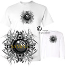 Pool Billiards Tribal 8 Eight Ball Graphic Short / Long Sleeve White T Shirt $17.95 USD on eBay