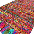 2 X 3 ft to 5 X 8 ft Colorful Boho Chindi Woven Area Rag Rug Indian Bohemian