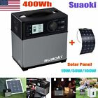 400Wh Solar Panel Power Generator Supply Car Jump Starter USB Charger Battery US