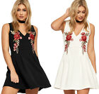 Womens Floral Embroidered Skater Mini Dress Ladies Flared Sleeveless Strappy