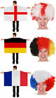 WORLD CUP 2018 SUPPORTERS COSTUME WEARABLE COUNTRY FLAG CAPE AND AFRO WIG SET