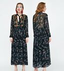 ZARA FLOWING BEADED BOHEMIAN MAXI LONG EMBROIDERED AND PRINTED DRESS 7521/064