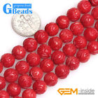 """8mm Carved Lotus Flower White Red Pink Coral Round Beads for Jewelry Making 15"""""""