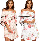 Womens Floral Print Off Shoulder Frill Layered Dress Ladies New Bardot Boho Trim