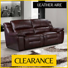 MADISON 3 Seater DARK BROWN OXBLOOD Pocket Sprung Leather Aire Sofa CLEARANCE
