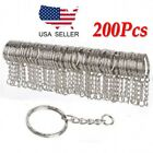250Pcs DIY 25mm Polished Silver Keyring Keychain Split Ring Short Chain Key Ring