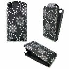 CASE FOR APPLE IPHONE 4 4S BLACK DIAMOND BLING GEM BUTTERFLY AND FLOWER COVER