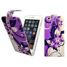 CASE FOR APPLE IPHONE 6 6S PURPLE CREAM FLOWER PU LEATHER FLIP POUCH PHONE COVER