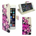 CASE FOR APPLE IPHONE 6 6S PINK CREAM FLOWER PRINTED DESIGN PU LEATHER WALLET