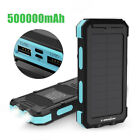 Waterproof 500000mAh Dual USB Solar Power Bank Battery Charger For Cell Phone US