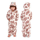 Nifty Kids 3D Cow Print All In One Girls Boys New Hooded Soft Fleece Sleepsuit