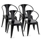 4PCS Home Tolix Style Dining Side Chair Arm Chairs Stackable Bistro Metal Stool