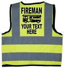 Fireman Personalised Name Baby/Chilren/Kids Hi Vis Safety Jacket Size 0-9 Years