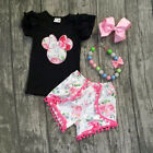 US Kid Baby Girls Minnie Mouse Clothes T-shirt Tops+ Floral Pants Shorts Outfits