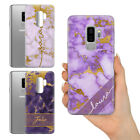 PERSONALISED PURPLE GOLD MARBLE EFFECT NAME PLASTIC PHONE CASE FOR SAMSUNG S