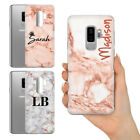PERSONALISED NAME INITIALS LUXURY ROSE GOLD MARBLE HARD PHONE CASE FOR SAMSUNG