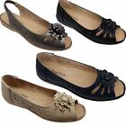Ladies Peep Toe Faux Leather Padded Insole Diamante Comfort Sandal Shoes