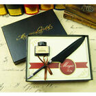 3 Colors  Feather Quill Dip Pen Writing Ink Set Rare Stationery with Box Gifts