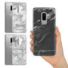 PERSONALISED SILVER GREY MARBLE CUSTOM NAME INITIALS GEL PHONE CASE FOR SAMSUNG