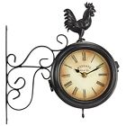 Wyegate Garden Station Clock Wall Mount Rooster Outdoor Thermometer Double Sided <br/> 12 Months Guarantee - 30 Days Returns - Free Delivery