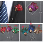 Gentleman Button & Feather Brooch Clip Breastpin Suit Formal Boutonniere