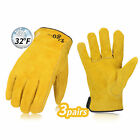 Vgo 3 Pairs Lined Cowhide Split Leather Work and Driver Gloves Gold CB9501FP3
