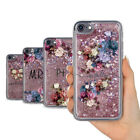 PERSONALISED FLORAL PEONIES DESIGN REAL LIQUID GLITTER GEL PHONE CASE FOR IPHONE