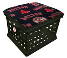 MLB BLACK UTILITY CRATE STORAGE CONTAINER OTTOMAN BENCH W/ TEAM FABRIC AND LOGO