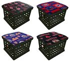 Black Ottoman Bench Storage Crate w/ MLB Team Logo Fabric Removable Seat Cushion on Ebay