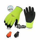 Vgo 3Pairs Foam Latex Coated Winter Warm Gardening and Work Gloves RB6010P3