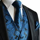 Paisley Men's Tuxedo Suit Vest with Necktie and Pocket Square