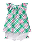NWT Gymboree SPRING VACATION Pink White Green Plaid Top White Bloomers Set NEW