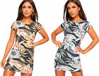 Womens Bodycon Stretch Floral Print Short Sleeve Round Neck Mini Dress Ladies