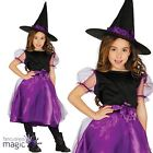 Girls Kids Witch Halloween Fancy Dress Long Black Purple Witches Costume and Hat
