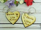 2pc Personalised like MOTHER SON MUM xmas wine Keyring gift wooden Birthday 035